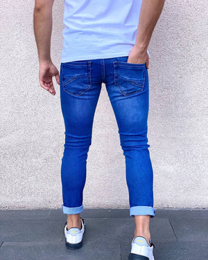 Sneakerjeans Blue Ripped Jeans AY075