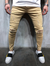 Load image into Gallery viewer, Cream Ripped Ultra Skinny Denim AY411 Streetwear Jeans