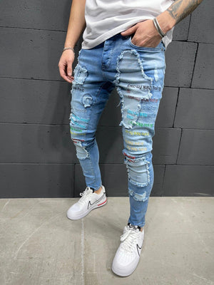 Sneakerjeans Blue Ripped Jeans AY193