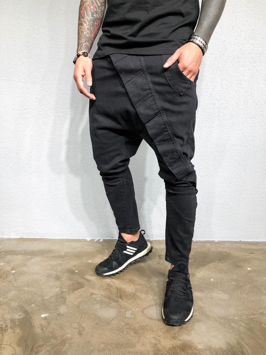 Black Asymetric Baggy Denim BL425 Streetwear Jeans - Sneakerjeans