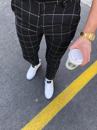 Black Checkered Slim Fit Casual Pant DJ153 Streetwear Pant