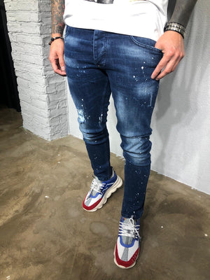 Sneakerjeans - Blue Colour Blobs Ripped Ultra Skinny Jeans BL428 - Sneakerjeans