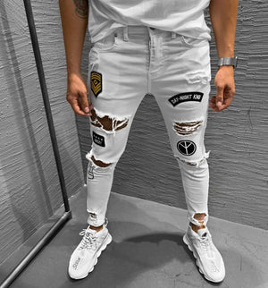 White Patched Ripped Jeans Ultra Slim Fit Jeans KB184 Streetwear Mens Jeans - Sneakerjeans