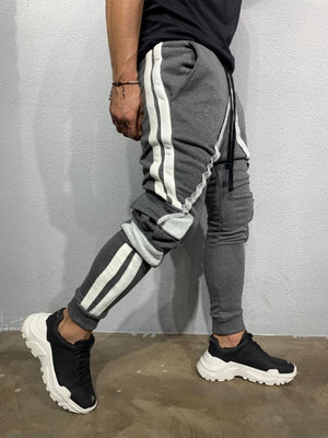Gray Striped Cargo Pocket Jogger Pant BI-013 Streetwear Mens Jogger Pants - Sneakerjeans