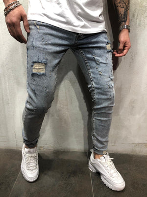 Blue Washed Ripped Skinny Jeans AY404 Streetwear Mens Jeans - Sneakerjeans