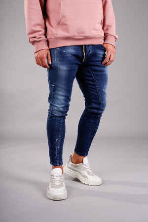 Blue Color Spots Side Front Zip Ultra Skinny Jeans BI-012 Streetwear Jeans - Sneakerjeans