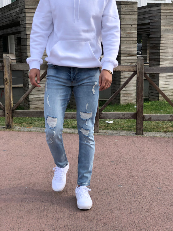Sneakerjeans - Blue Washed Ripped Ultra Skinny Jeans B329 - Sneakerjeans