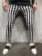 Load image into Gallery viewer, Black & White Striped Ultra Skinny Denim AY413 Streetwear Jeans