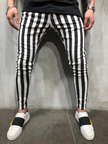 Black & White Striped Ultra Skinny Denim AY413 Streetwear Jeans
