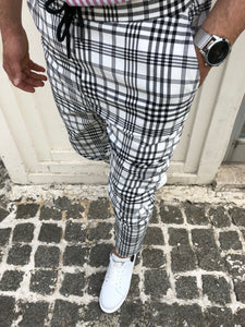 White Checkered Slim Fit Casual Mens Pant DJ174 Mens Pant