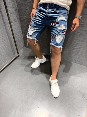 Blue Patched Ripped Jeans Short KB237 Streetwear Mens Shorts - Sneakerjeans