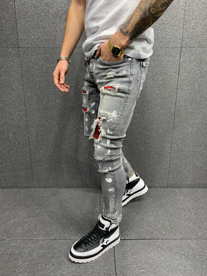 Sneakerjeans Gray Patched Ripped Jeans AY176