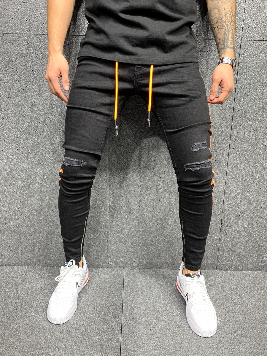 Sneakerjeans Black Striped Ripped Jeans AY060