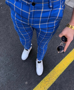 Blue Mixed Colour Checkered Slim Fit Casual Pant DJ122 Streetwear Pant - Sneakerjeans