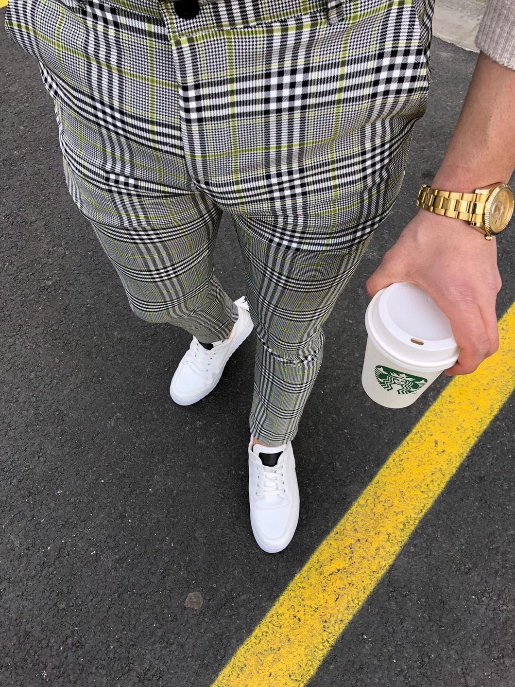 Gray Yellow Checkered Slim Fit Casual Pant DJ149 Streetwear Pant