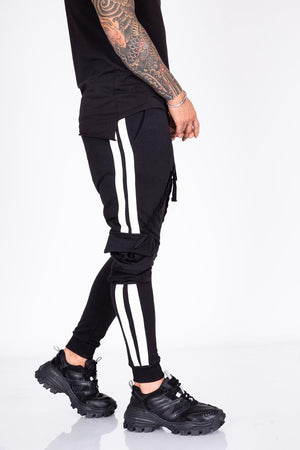 Black Striped Cargo Pocket Jogger Pant BI-016 Streetwear Mens Jogger Pants - Sneakerjeans