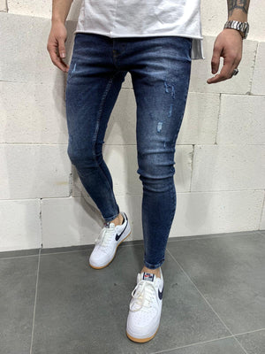 Sneakerjeans Blue Skinny Ripped Jeans AY769