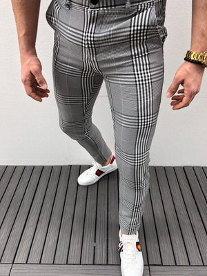 Gray Checkered Slim Fit Casual Pant DJ159 Streetwear Pant - Sneakerjeans