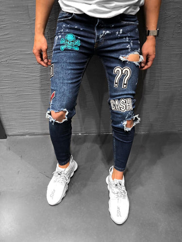 Patched Blue Ripped Jeans Ultra Skinny Jeans KB160 Streetwear Mens Jeans