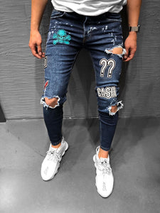 Patched Blue Ripped Jeans Ultra Skinny Jeans KB160 Streetwear Mens Jeans - Sneakerjeans