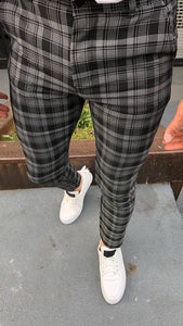 Black Gray Checkered Slim Fit Casual Pant DJ161 Streetwear Pant
