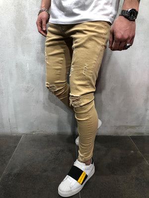 Cream Ripped Ultra Skinny Denim AY411 Streetwear Jeans - Sneakerjeans