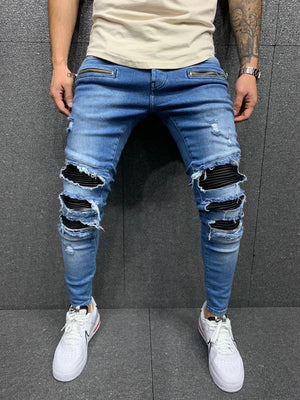 Sneakerjeans Blue Patched Jeans AY023