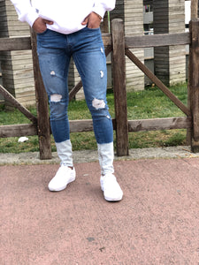 Blue White Ankle Washed Ripped Ultra Skinny Jeans B323 Streetwear Mens Jeans