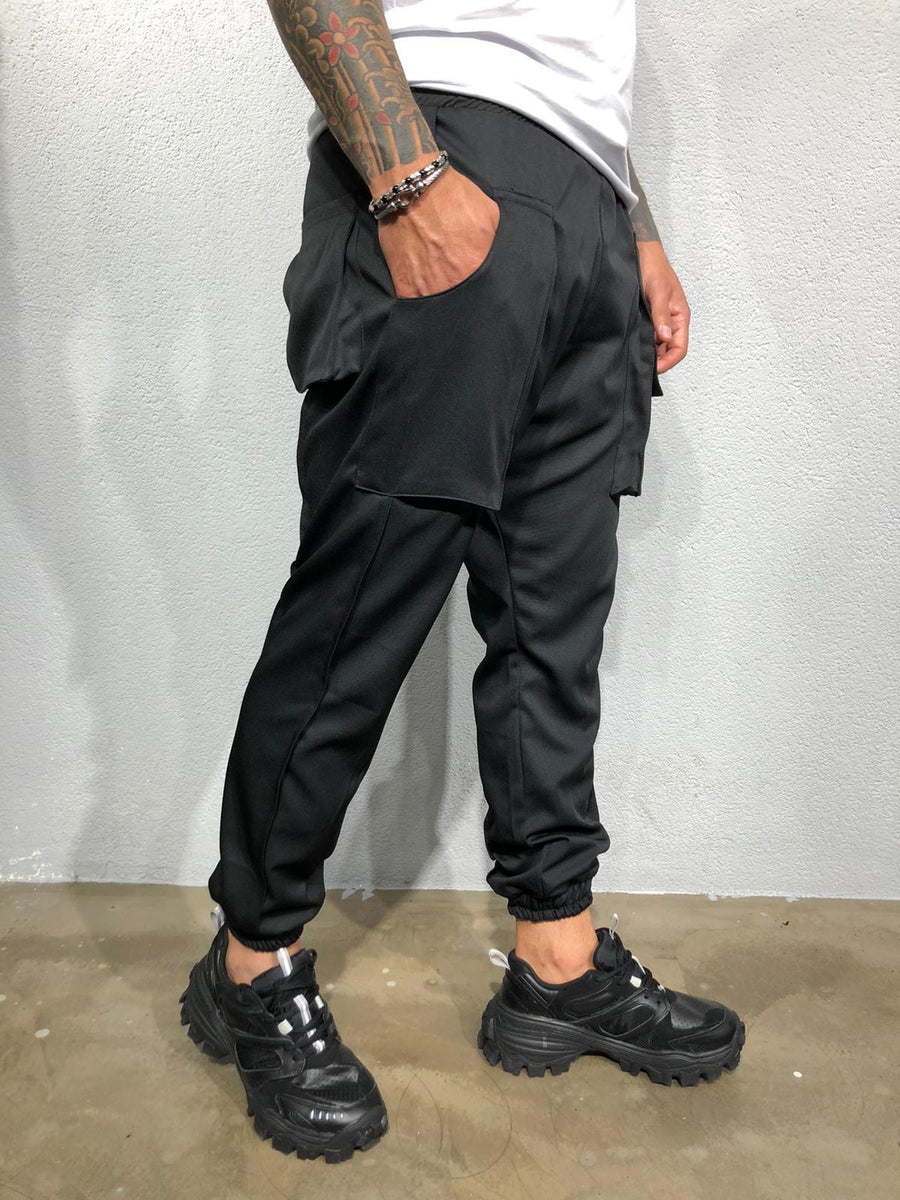 Black Big Pocket Harem Jogger Pant BI-017 Streetwear Mens Jogger Pants - Sneakerjeans