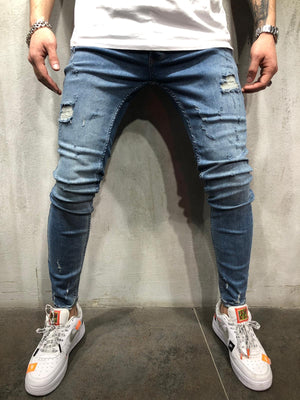 Blue Washed Ripped Ultra Skinny Jeans AY403 Streetwear Mens Jeans - Sneakerjeans