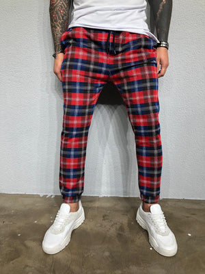 Red Checkered Jogger Pant BL418 Streetwear Jogger Pants - Sneakerjeans