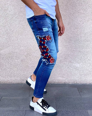 Sneakerjeans - Blue Snake Patched Jeans Skinny Jeans AY451