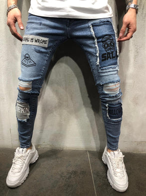 Blue  Patched Printed Ultra Skinny Denim AY408 Streetwear Jeans
