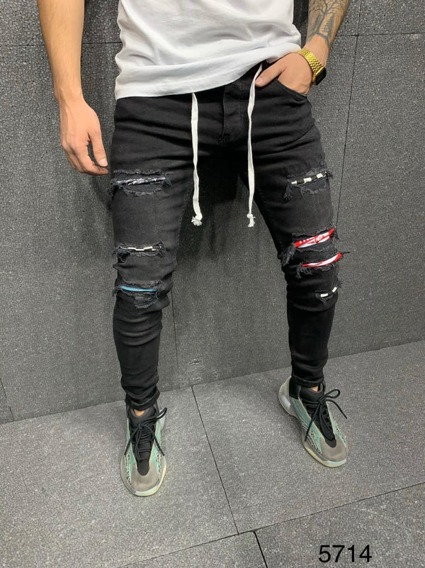 Sneakerjeans Black Patched Jeans AY138