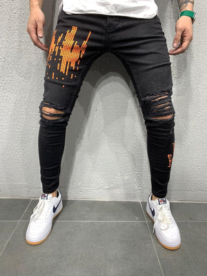 Black Orange Printed Skinny Fit Jeans AY666 Streetwear Jeans - Sneakerjeans