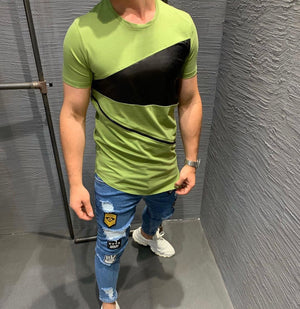 Green Oversized Slim Fit Mens T-Shirt KB220 Streetwear Mens T-Shirts - Sneakerjeans