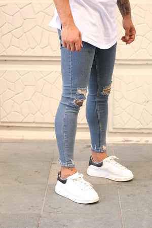 Sneakerjeans Blue Ripped Skinny Jeans DP55