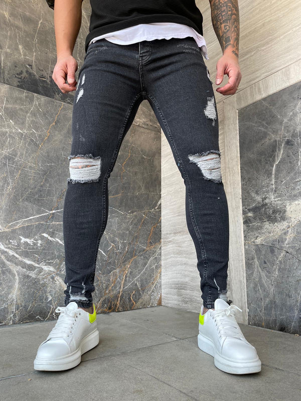 Sneakerjeans Navy Ripped Jeans DP155
