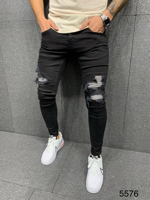 Sneakerjeans Black Patched Jeans AY022