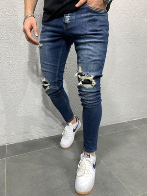 Sneakerjeans - Blue Patched Ripped Skinny Jeans AY677 - Sneakerjeans