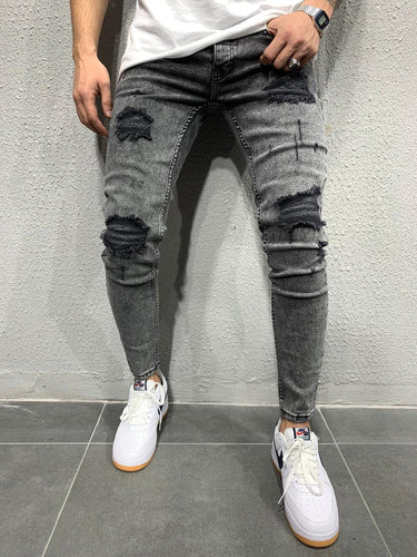 Gray Washed Ripped Skinny Fit Jeans AY620 Streetwear Jeans - Sneakerjeans