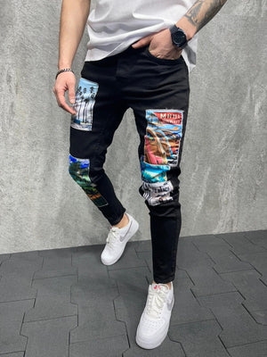 Sneakerjeans Black Printed Jeans AD136