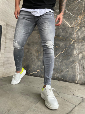 Sneakerjeans Gray Ripped Jeans DP154