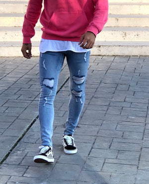 Blue Washed Ripped Ultra Skinny Jeans B322 Streetwear Mens Jeans - Sneakerjeans