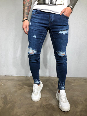 Navy Ripped Ultra Skinny Denim BL404 Streetwear Jeans - Sneakerjeans