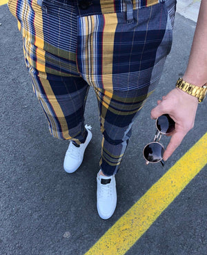 Mixed Colour Checkered Slim Fit Casual Pant DJ113 Streetwear Pant - Sneakerjeans
