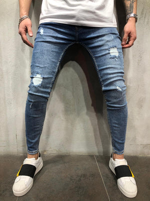 Blue Washed Ripped Ultra Skinny Jeans AY405 Streetwear Mens Jeans - Sneakerjeans