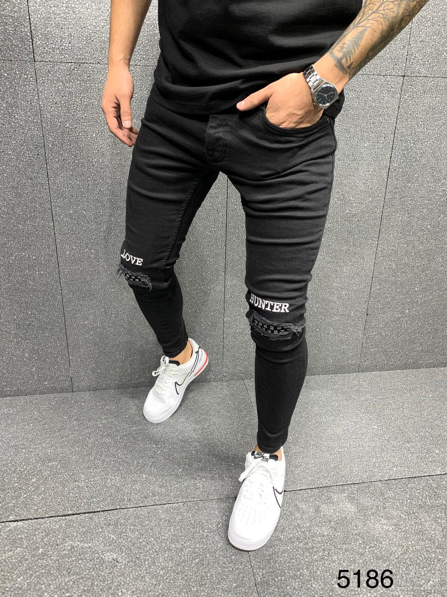 Sneakerjeans Black Patched Jeans AY064
