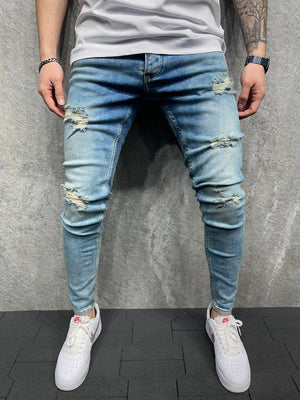 Sneakerjeans Blue Ripped Jeans AD139