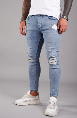 Light Blue Ripped Ultra Skinny Jeans BI-006 Streetwear Jeans - Sneakerjeans
